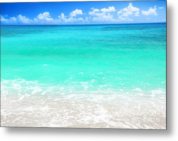 Beautiful Blue Sea Beach Metal Print