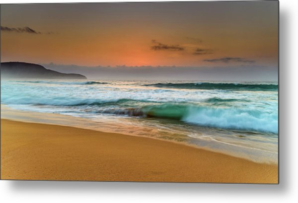 Beautiful Hazy Sunrise Seascape  Metal Print