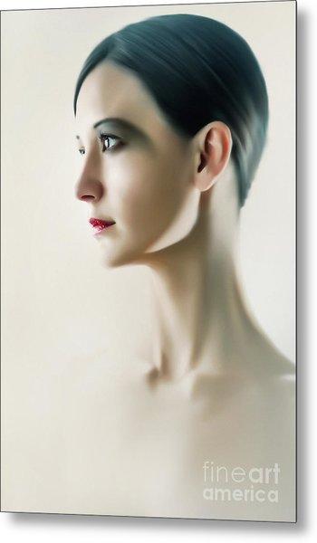 Metal Print featuring the photograph Beautiful Model Highkey Fashion Studio Portrait by Dimitar Hristov