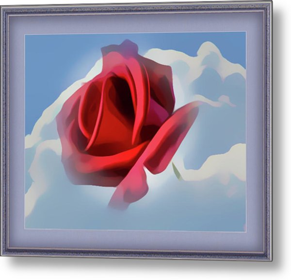 Beautiful Red Rose Cuddled By Cumulus Metal Print