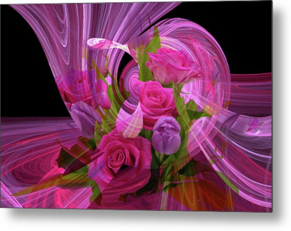 Beautiful Rose Bouquet Montage Metal Print