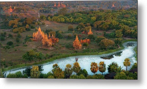 Beautiful Sunrise In Bagan Metal Print