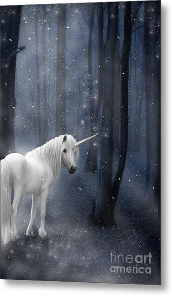 Beautiful Unicorn In Snowy Forest Metal Print