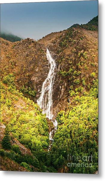 Beautiful Waterfall In Sunlight Metal Print