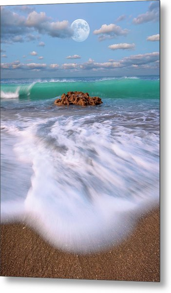 Beautiful Waves Under Full Moon At Coral Cove Beach In Jupiter, Florida Metal Print