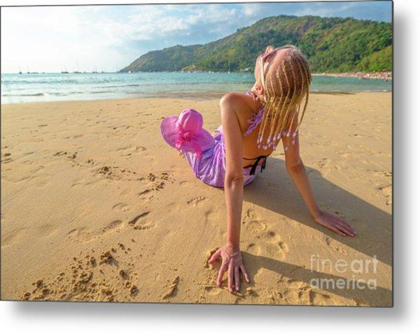 Beautiful Woman Sunbathing On Beach Metal Print