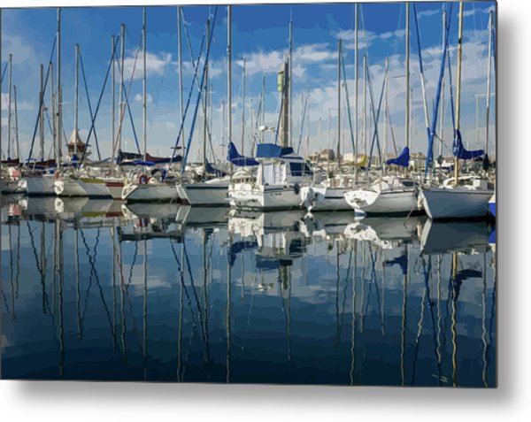 Beautiful Yachts Moored In The Marina Metal Print
