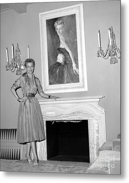 Beauty, Betty Furness, Poses With Her Likeness Behind Her. 1956 Metal Print by Anthony Calvacca
