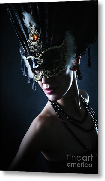 Metal Print featuring the photograph Beauty Model Wearing Venetian Masquerade Carnival Mask by Dimitar Hristov