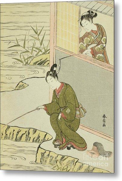 Beauty Teasing A Young Man Fishing Metal Print