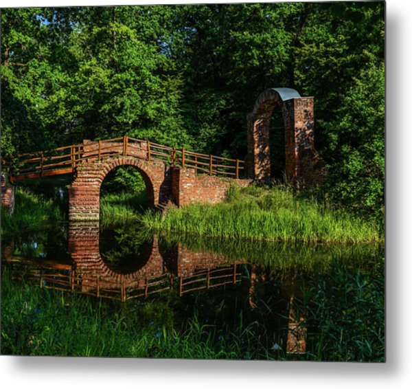 Beckerbruch Bridge Reflection Metal Print