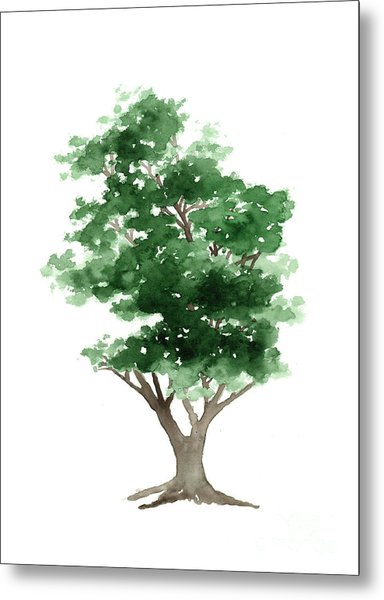Beech Tree Silhouette Watercolor Art Print Painting Metal Print