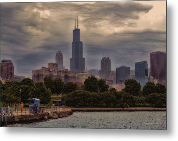 Before The Spring Storm Chicago Sears Willis Tower 01 Metal Print