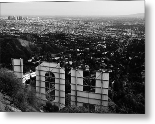 Behind Hollywood Bw Metal Print