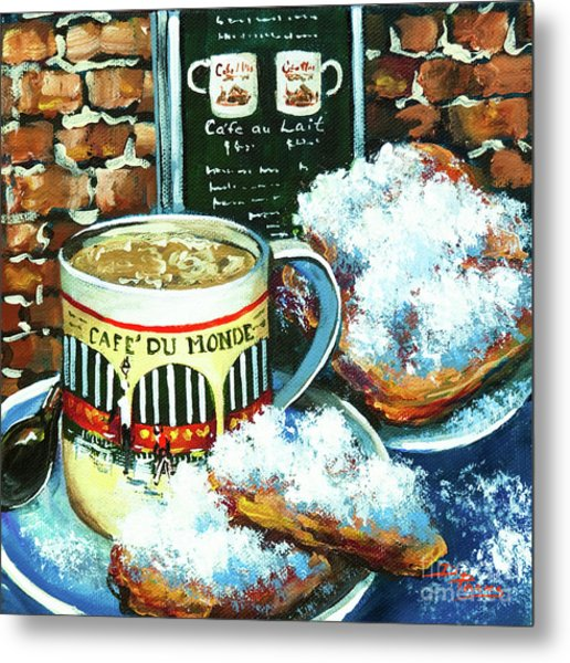 Beignets And Cafe Au Lait Metal Print