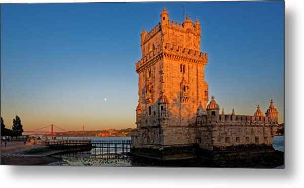 Belem Tower And The Moon Metal Print