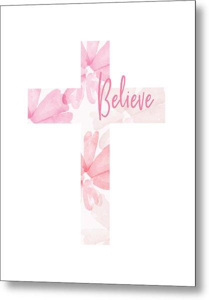 Believe Floral Cross- Art By Linda Woods Metal Print