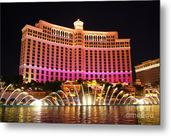 Bellagio At Night Metal Print