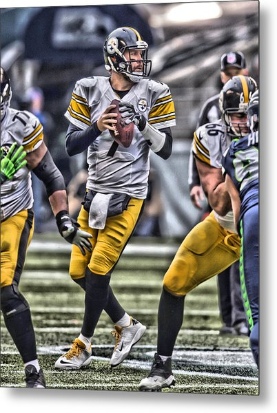 Ben Roethlisberger Pittsburgh Steelers Art Metal Print
