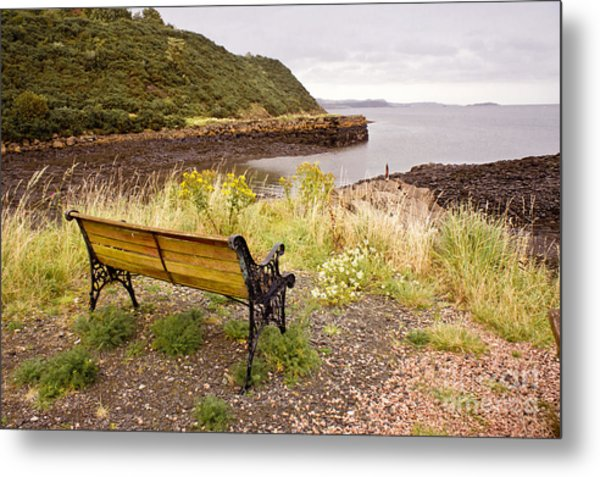 Bench At The Bay Metal Print