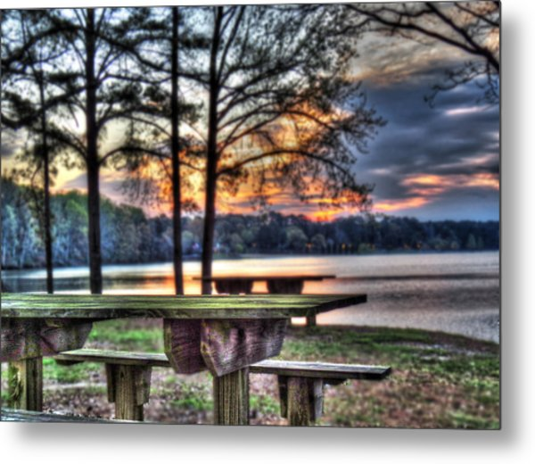 Bench By Lake Metal Print