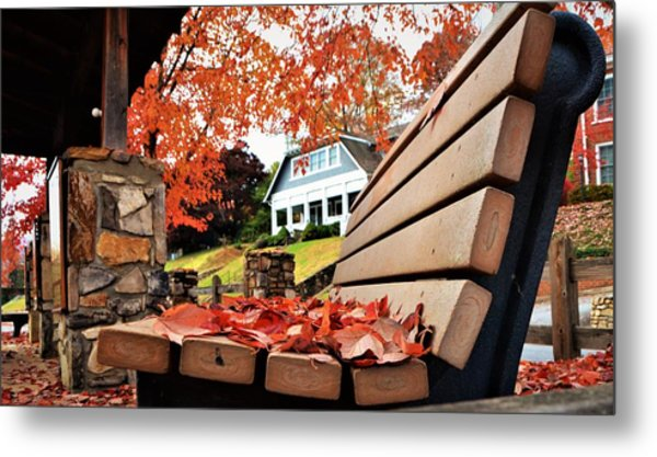 Bench Leaves Metal Print