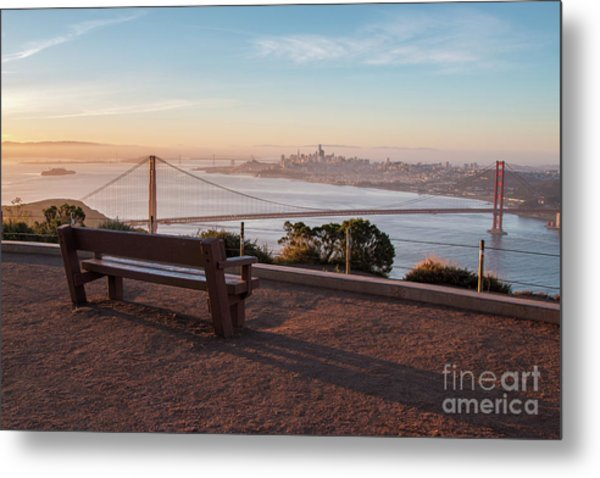 Bench Overlooking Downtown San Francisco And The Golden Gate Bri Metal Print
