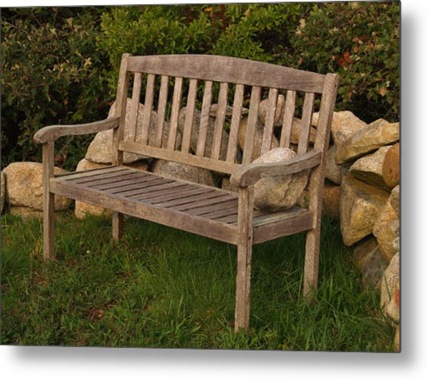 Bench With Stone Metal Print by Richard Mansfield