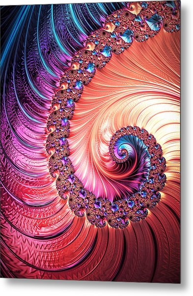 Beneath The Sea Spiral Metal Print