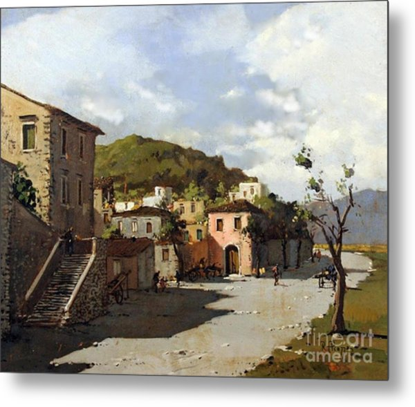 Provincia Di Benevento-italy Small Town The Road Home Metal Print