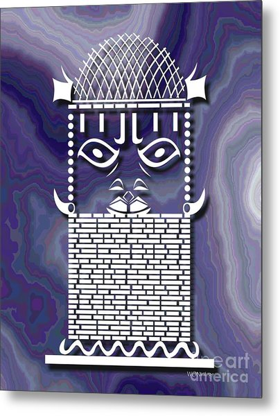 Benin Warrior King Metal Print by Walter Oliver Neal