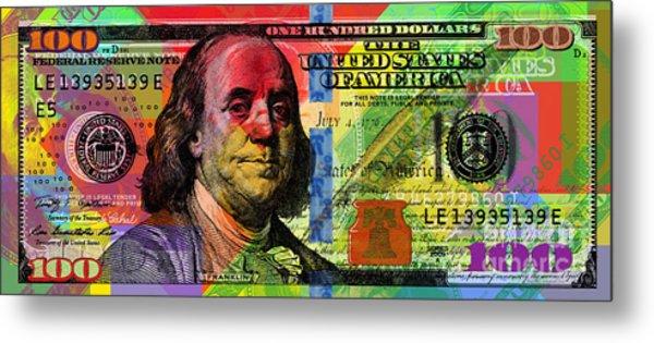 Benjamin Franklin $100 Bill - Full Size Metal Print