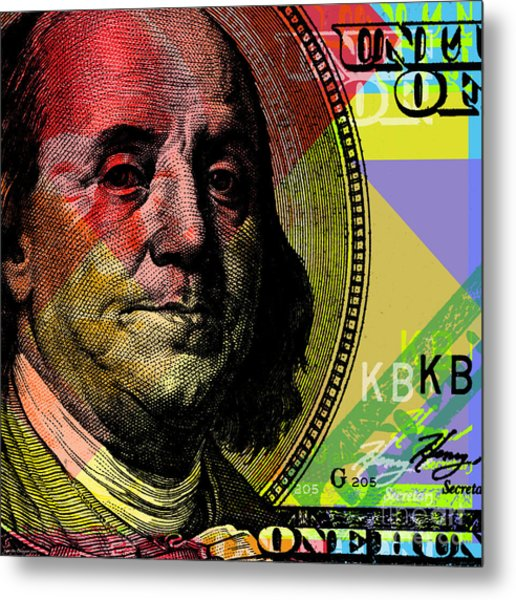 Benjamin Franklin - $100 Bill Metal Print
