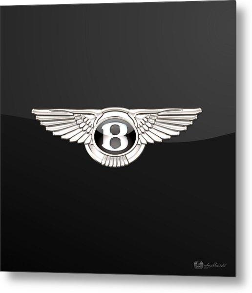 Bentley - 3 D Badge On Black Metal Print