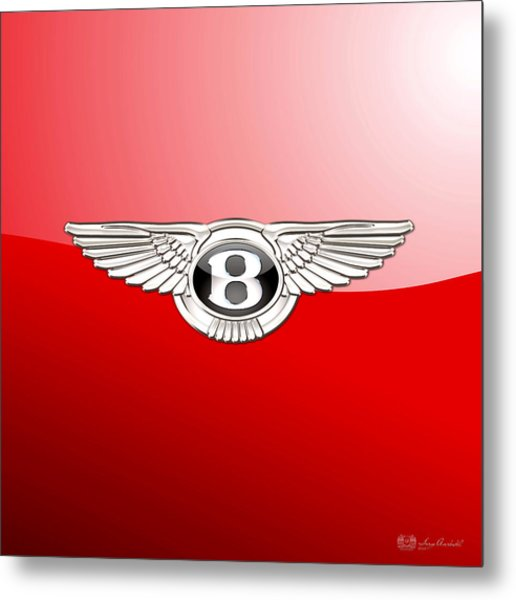 Bentley 3 D Badge On Red Metal Print