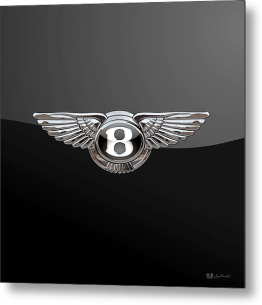 Bentley - 3d Badge On Black Metal Print