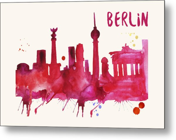 Berlin Skyline Watercolor Poster - Cityscape Painting Artwork Metal Print