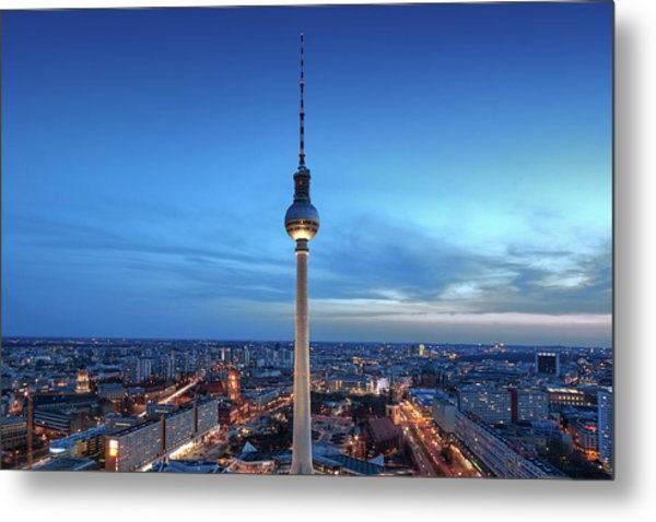 Metal Print featuring the photograph Berlin Television Tower by Marc Huebner