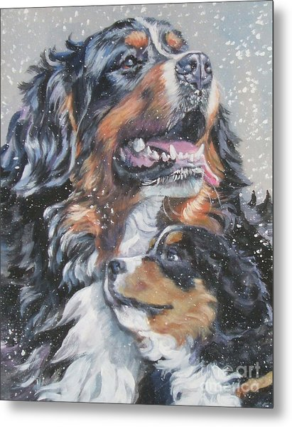 Bernese Mountain Dog With Pup Metal Print