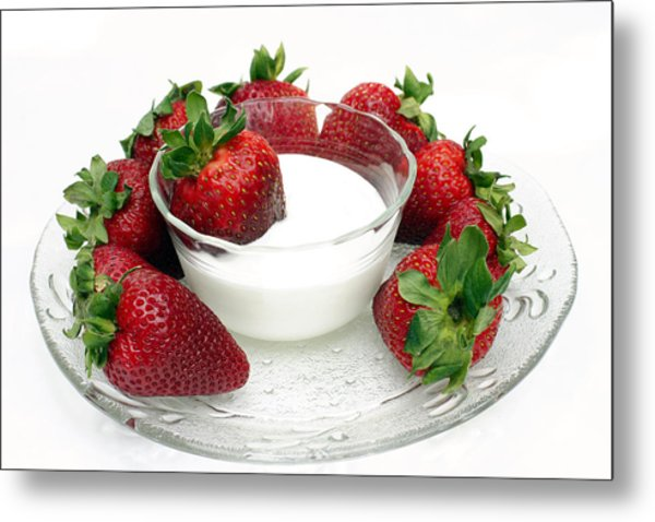 Berries And Cream Metal Print