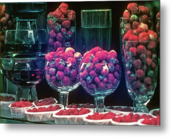 Berries In The Window Metal Print