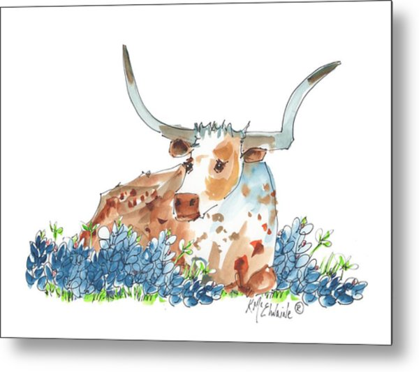 Bessie In The Bluebonnets Watercolor Painting By Kmcelwaine Metal Print