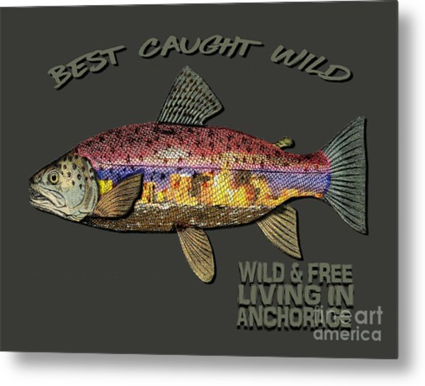 Fishing - Best Caught Wild-on Dark Metal Print