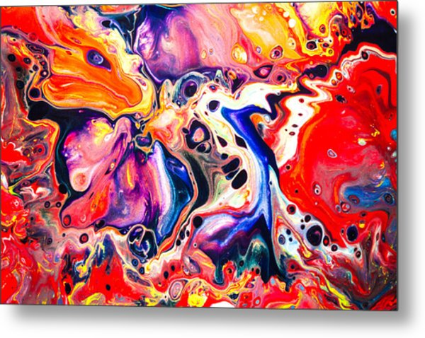 Best Friends  - Abstract Colorful Mixed Media Painting Metal Print