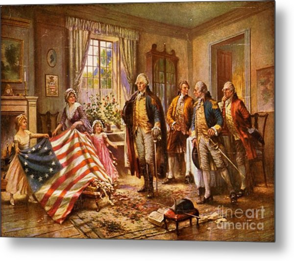 Betsy Ross Showing Flag To George Washington. Metal Print by Pg Reproductions