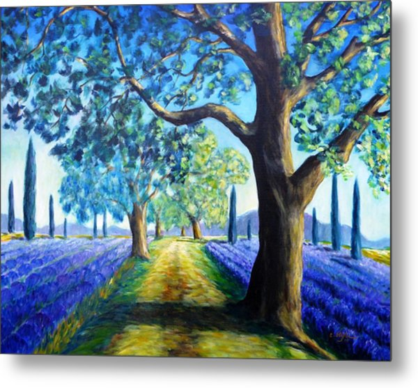 Metal Print featuring the painting Between The Lavender Fields by Cristina Stefan