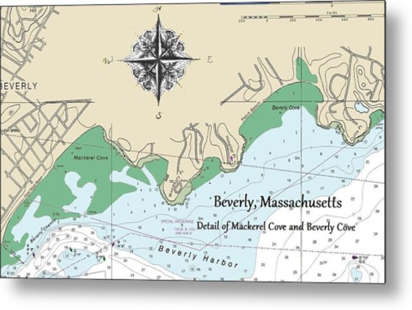 Beverly Cove Nautical Map Metal Print