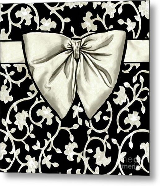 Bianca Eggshell White Antique Baroque Damask Pattern, Black Background Metal Print