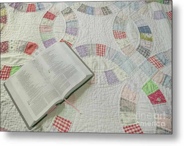 Bible On Quilt Metal Print