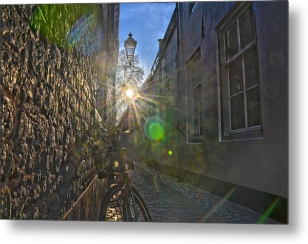 Bicycle Alley Metal Print